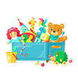 batoys in box children toys in plastic vector image