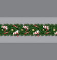border with snowman christmas tree branches vector image