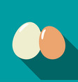 brown and white eggs flat icon vector image