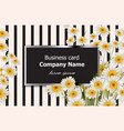 business card with chamomile flowers vector image
