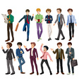 Businessmen in different clothes vector image vector image