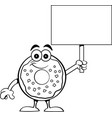 cartoon happy donut holding a sign vector image vector image
