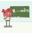 cartoon heart character stands near the blackboard vector image vector image