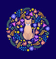 cat and flowers on dark background vector image vector image
