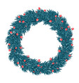 christmas wreath isolated on white background vector image vector image