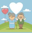 color background scene in landscape elderly couple vector image vector image