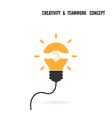 Creative light bulb idea and handshake sign vector image vector image