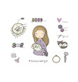 cute cartoon girl embroiders a beautiful pattern vector image vector image