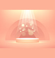 empty podium with bright sparkling light rays vector image vector image