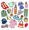 English Lady Woman Fashion Badges Patches vector image vector image