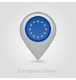 European Union flag pin map icon vector image vector image