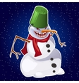 Evil snowman carrot nose red scarf and bucket vector image