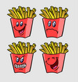friend fries cartoon character expression vector image vector image