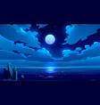 full moon night ocean or sea landscape moonlight vector image vector image