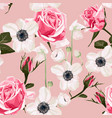 garden anemone flower and roses pattern