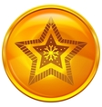 Gold button with star vector image