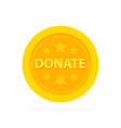 gold donate sign coin in flat style vector image