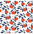 hand drawn seamless pattern with tangerines vector image vector image