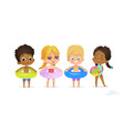 happy multiracial friend play in swimming pool vector image