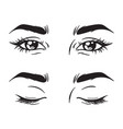 isolated black and white beautiful female eyes set vector image vector image