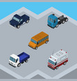 isometric automobile set of lorry truck suv and vector image vector image