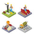 Isometric construction industry workers mixer