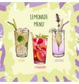 lavender lemon strawberry lemonade set in glass vector image vector image