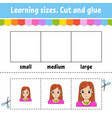 learning sizes cut and glue easy level color