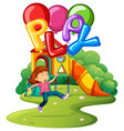 little girl and balloons in park vector image vector image