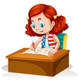 Little girl writing on the table vector image vector image
