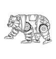 mechanical bear animal engraving vector image vector image
