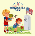 memorial day mother with child cemetery little vector image