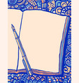 notebook pen and doodle bg vector image vector image