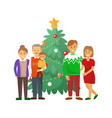 pine tree and family christmas holiday celebration vector image vector image
