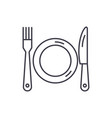 plate fork and knife line icon concept plate vector image vector image