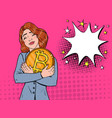 pop art businesswoman with big golden bitcoin coin vector image vector image