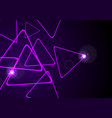 purple retro neon shiny triangles background vector image