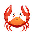 red crab sea creature colorful cartoon character vector image vector image