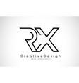 rx r x letter logo design in black colors vector image vector image