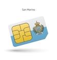 San Marino mobile phone sim card with flag vector image