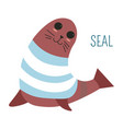 seal in sweater childish cartoon book character vector image