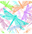 seamless pattern with stylized dragonflies vector image vector image