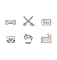 set linear barber shop icons bow-tie vector image
