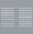 set of horizontal isolated white lace borders for vector image