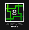 silver number eight logo symbol in the square maze vector image vector image