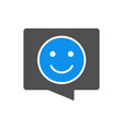 speech bubble with happy smiley face colored icon vector image vector image
