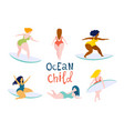 surfing girls on surfboards catching waves vector image