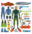 underwater hunting and hunter man character with vector image