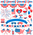 usa celebration flat national symbols set vector image