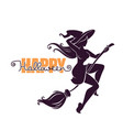 young happy and attractive witch riding a broom vector image